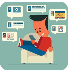 Young man online chatting vector