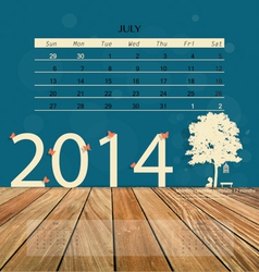 2014 calendar monthly calendar template for july vector