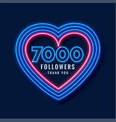 7000 followers thank you background in neon heart vector