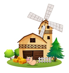 A wooden farmhouse with playful pig vector