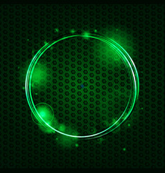 Abstract green mesh and glowing circle background vector