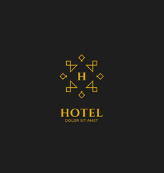 abstract line hotel logo with gold line outline vector image