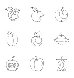 apple logo icon set outline style vector image