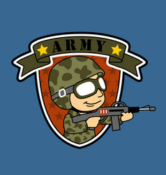 Army logo with a soldier cartoon vector
