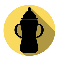 baby bottle sign flat black icon with vector image