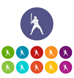 baseball player with bat icons set flat vector image