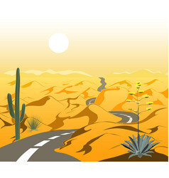 beautiful desert landscape with asphalt road and vector image