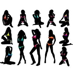Bikini girls silhouette vector