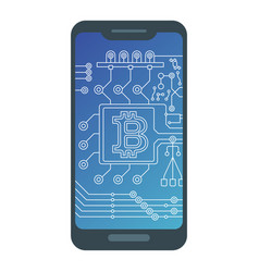 bitcoin sign with computer chip on smartphone vector image