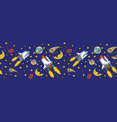 Blue space shuttle blast off with stars vector