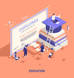 Branding education promotion isometric composition vector