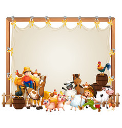 Canvas wooden frame template with animal farm set vector