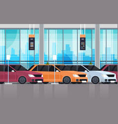 cars dealership center showroom interior with set vector image
