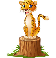 Cartoon cheetah sitting on the tree stump vector
