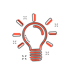 cartoon light bulb icon in comic style idea sign vector image