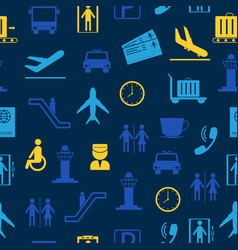 cartoon silhouette airport seamless pattern vector image
