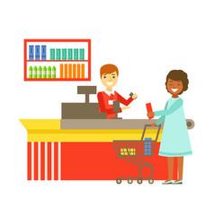 cashier serving buyer at the cash register in vector image