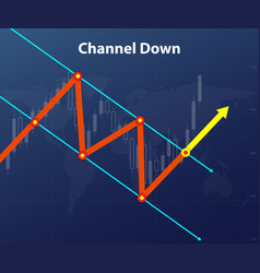 channel down forex figure red and yellow arrow vector image
