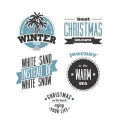 Christmas on beach set typography labels vector