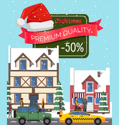 christmas sale -50 off poster vector image