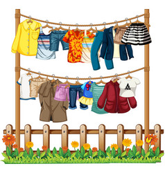 clothes hanging on a clothesline with fence vector image