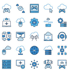 cloud gaming colored icons playing games vector image