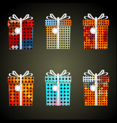 Colorful dots wrapping paper gifts with ribbons vector