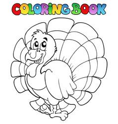 coloring book happy turkey vector image