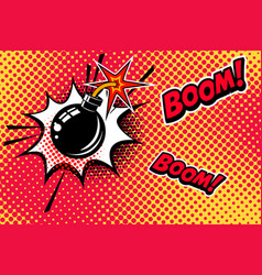 Comic book style background with bomb explosion vector