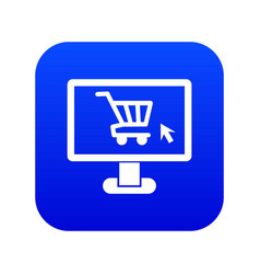 Computer monitor with shopping cart icon digital vector