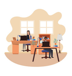 Couple working in office avatar character vector