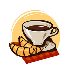 Cup of coffee tea and croissant hot drink vector