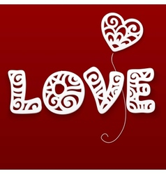 cut out paper lacy love sign vector image