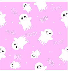 cute ghost halloween seamless pattern with boo vector image