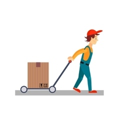 Delivery Man with a Cart Behind Him vector
