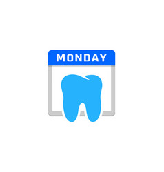 dental calendar logo icon design vector image