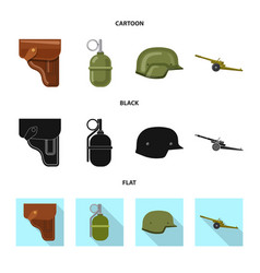 design of weapon and gun symbol set of vector image