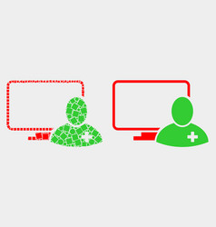 dot and flat computer doctor icon vector image