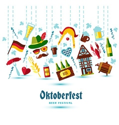 Flat design with oktoberfest symbols Oktobe vector