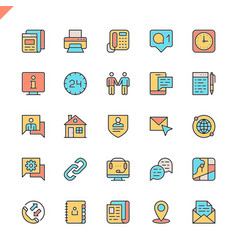 flat line contact us icons vector image