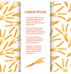 Flat poster or banner template with wheat vector
