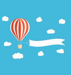 flying advertising banner hot air balloon vector image