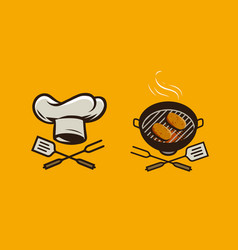 food logo or label bbq barbecue vector image