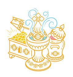 frankincense myrrh and gold magi offerings vector image