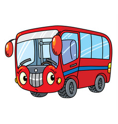 Funny small bus with eyes vector