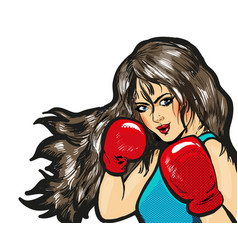 Girl boxing pop art comic stock vector