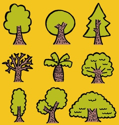 hand-drawn trees vector image