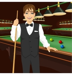 Handsome man holding cue stick vector