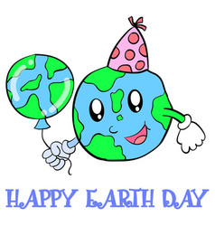 Happy earth day world and balloon vector