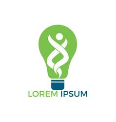happy human and light bulb logo design vector image